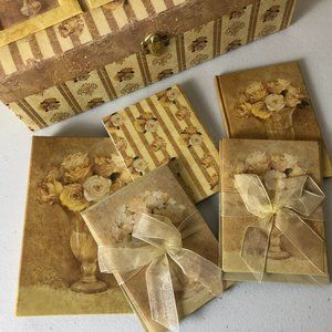 Yellow Floral Stationery Box with Photo Album